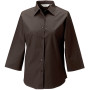 Ladies' 3/4 sleeve easy care fitted shirt chocolate xl