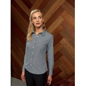 Ladies' long-sleeved microcheck gingham shirt