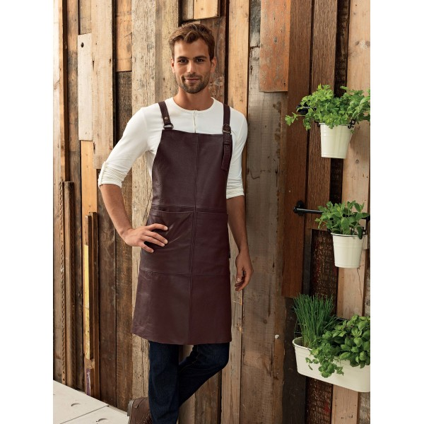 Artisan - leather cross back bib apron