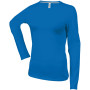 Dames t-shirt ronde hals lange mouwen light royal blue l