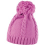 Cable knit pom pom beanie shocking pink one size