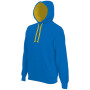 Hooded sweater met gecontrasteerde capuchon light royal blue / yellow 3xl