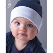 Baby Reversible Hat - White/Heather Grey Melange
