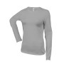 Dames t-shirt ronde hals lange mouwen oxford grey 3xl