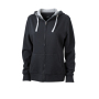 Ladies' Lifestyle Zip-Hoody zwart/heather grijs