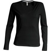 Ladies' long-sleeved v-neck t-shirt
