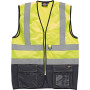 High visibility two tone waistcoat yellow / navy xxl