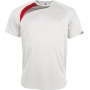Kindersportshirt white / sporty red / storm grey 8/10