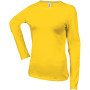 Dames t-shirt ronde hals lange mouwen yellow 3xl