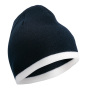 Beanie with Contrasting Border navy/wit