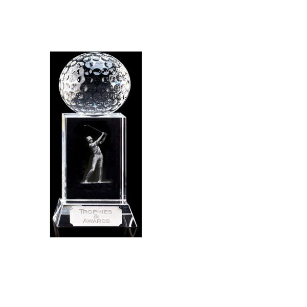 Golf Trophie Mercury Golfer Optical Crystal 12.25cm