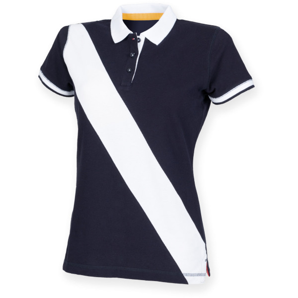 Ladies diagonal stripe house cotton polo shirt